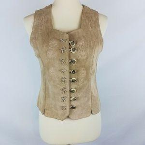 LANDHAUS Button Front Pig Suede Leather Vest
